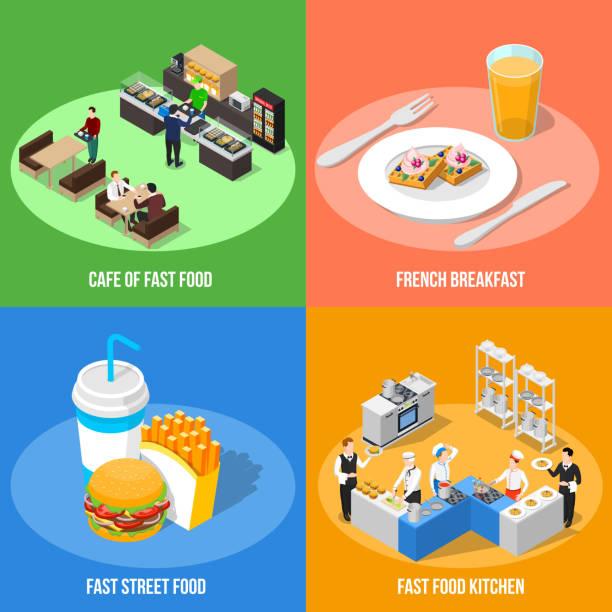 ilustrações de stock, clip art, desenhos animados e ícones de isometric fast food  2x2 - kitchen counter