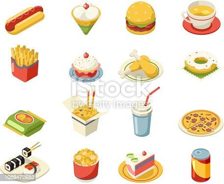 Isometric fast food icons 3d set flat design design vector illustration
