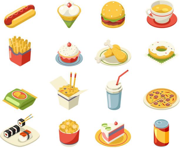 isometrische fastfood 3d-icons set flache design-design-vektor-illustration - ungesunde ernährung stock-grafiken, -clipart, -cartoons und -symbole