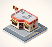 Isometric fast food cafe