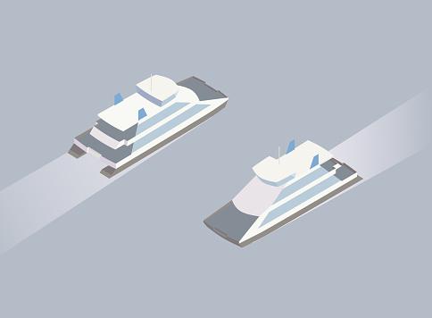 Isometric ferry boat illustration