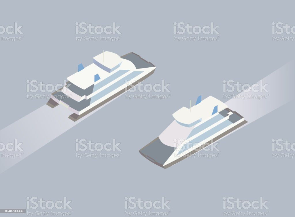 Isometric ferry boat illustration vector art illustration