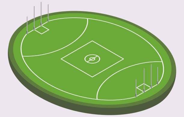 Isometric field for Australian football, isolated image vector art illustration