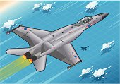 Detailed illustration of a Isometric Fighter Bomber in Flight in Rear View.This illustration is saved in EPS10 with color space in RGB...
