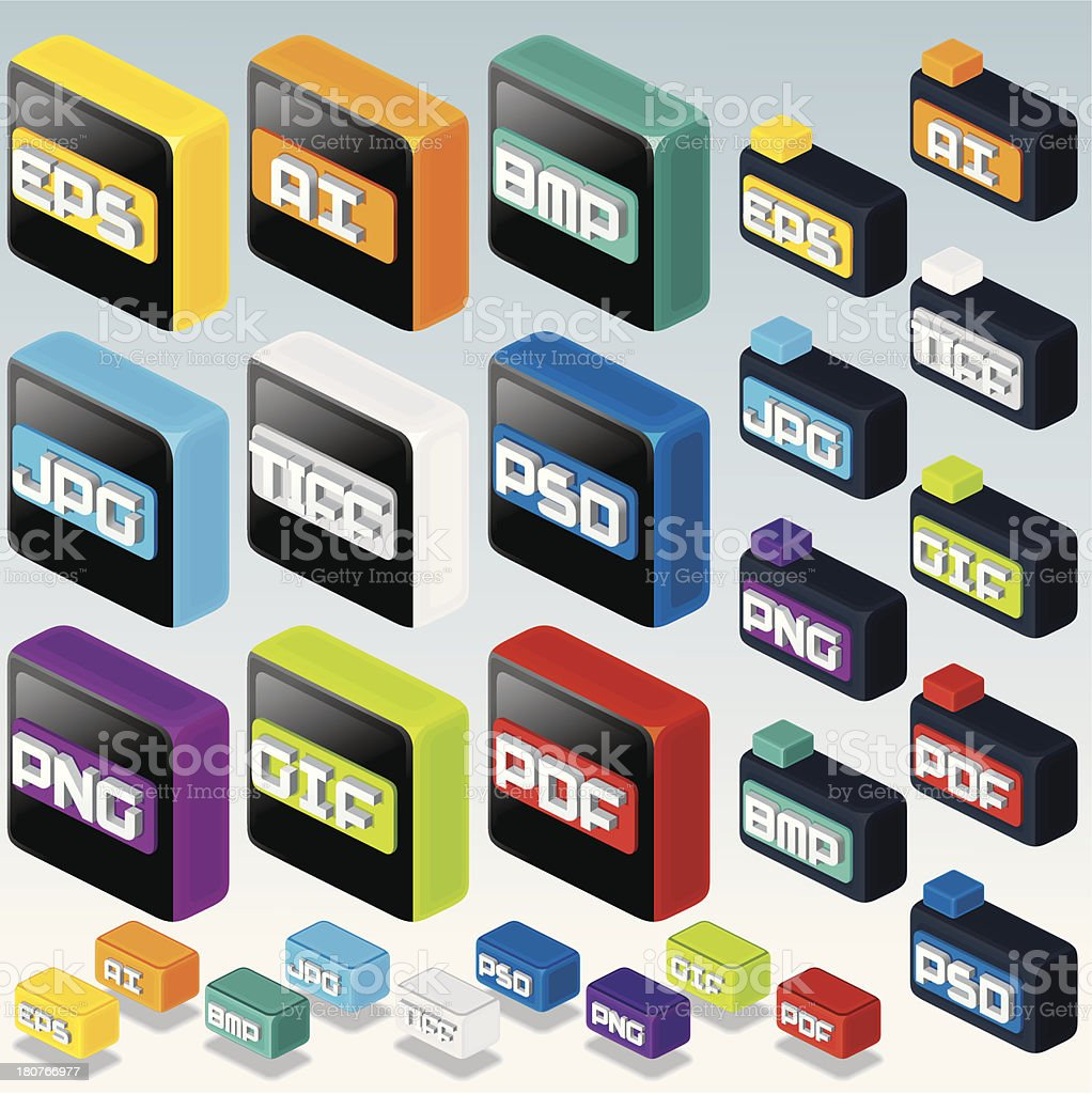3D Isometric File Type Icons. Computer Graphicsvectorkunst illustratie