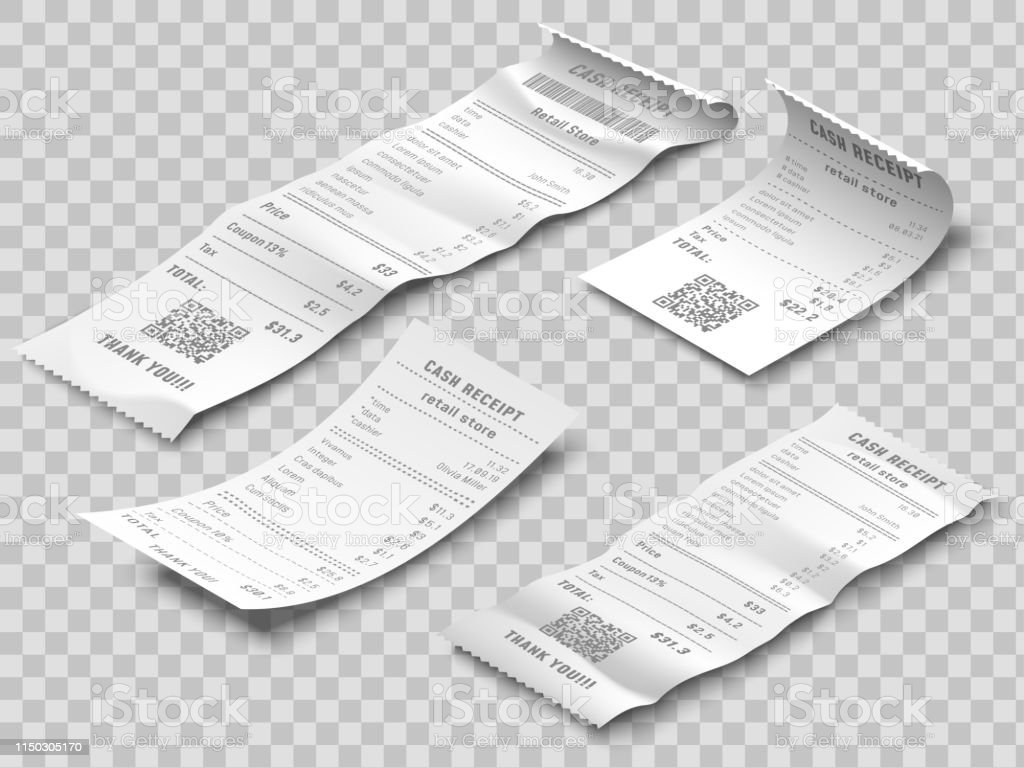Isometric financial check. Payment checks, thermal printed rolled...