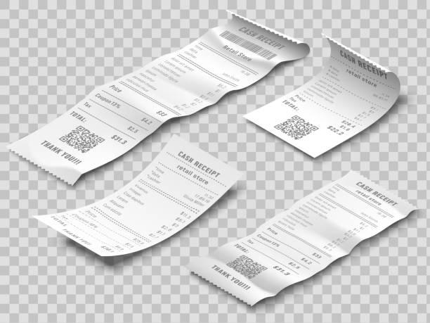 isometrische finanzprüfung. zahlungskontrollen, thermisch gedruckte rollenpapier-quittung und zahlungsbelege isoliert realistischen 3d-vektor-set - kassenbon stock-grafiken, -clipart, -cartoons und -symbole