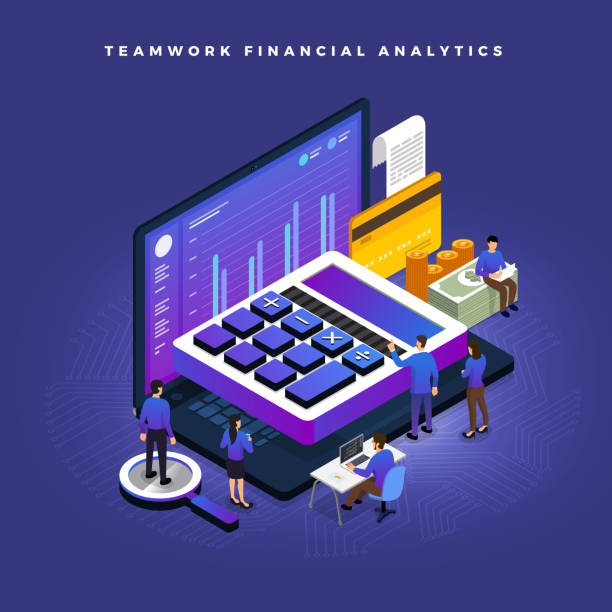 illustrazioni stock, clip art, cartoni animati e icone di tendenza di isometric financial teamwork - calcolatrice