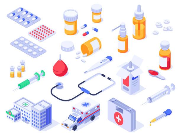 izometryczny apteczka. tabletki medyczne opieki zdrowotnej, leki apteczne i butelki z lekami. szpital ambulans 3d izolowany zestaw wektorów - lekarstwo stock illustrations
