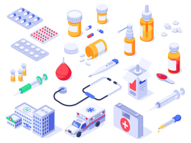 illustrazioni stock, clip art, cartoni animati e icone di tendenza di isometric first aid kit. health care medical pills, pharmacy medicines and drug bottles. hospital ambulance 3d isolated vector set - farmaco