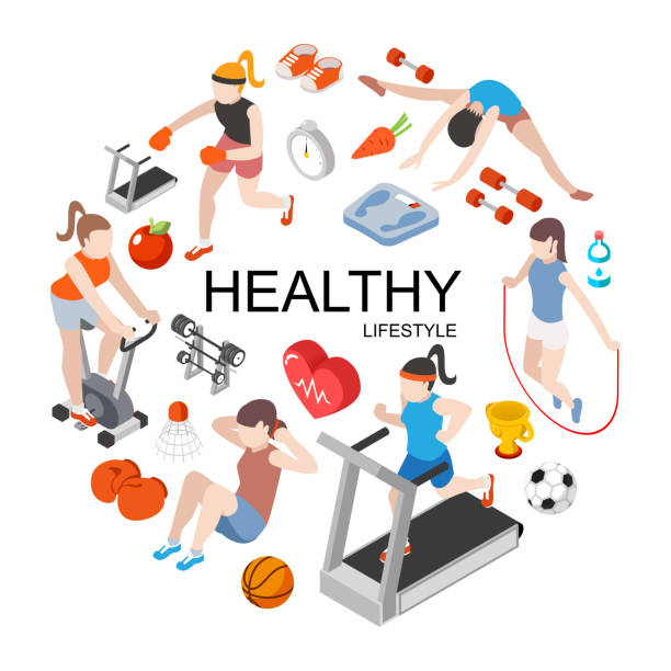 Isometric Fitness Round Concept Isometric fitness round concept with slim girls doing physical exercises and sport equipment vector illustration exercise machine stock illustrations