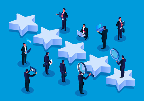 Isometric five stars and a group of businessmen at work