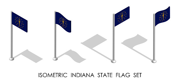isometric flag of american state of Indiana in static position and in motion on flagpole. 3d vector
