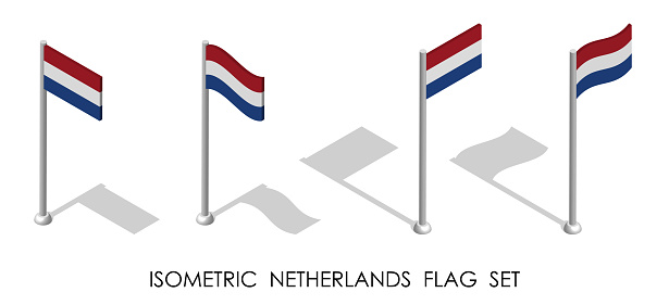 isometric flag of Holland, Netherlands in static position and in motion on flagpole. 3d vector