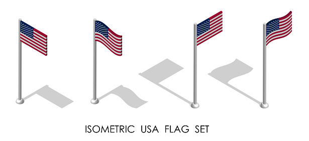 isometric flag of United States of America in static position and in motion on flagpole. 3d vector