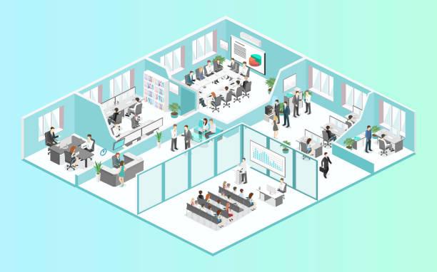 フラット 3次元等尺性の抽象オフィス床インテリア部門概念ベクトルの。 - 会社点のイラスト素材/クリップアート素材/マンガ素材/アイコン素材
