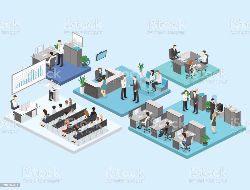 isometric flat 3d abstract office floor interior departments concept vector. vector art illustration