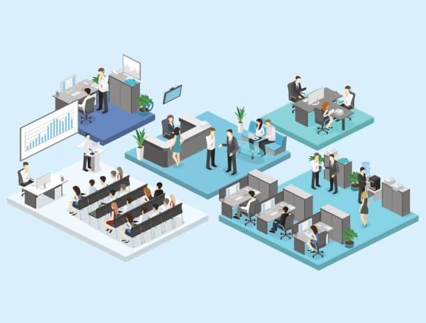 フラット 3次元等尺性の抽象オフィス床インテリア部門概念ベクトルの。 - オフィスワーク点のイラスト素材/クリップアート素材/マンガ素材/アイコン素材