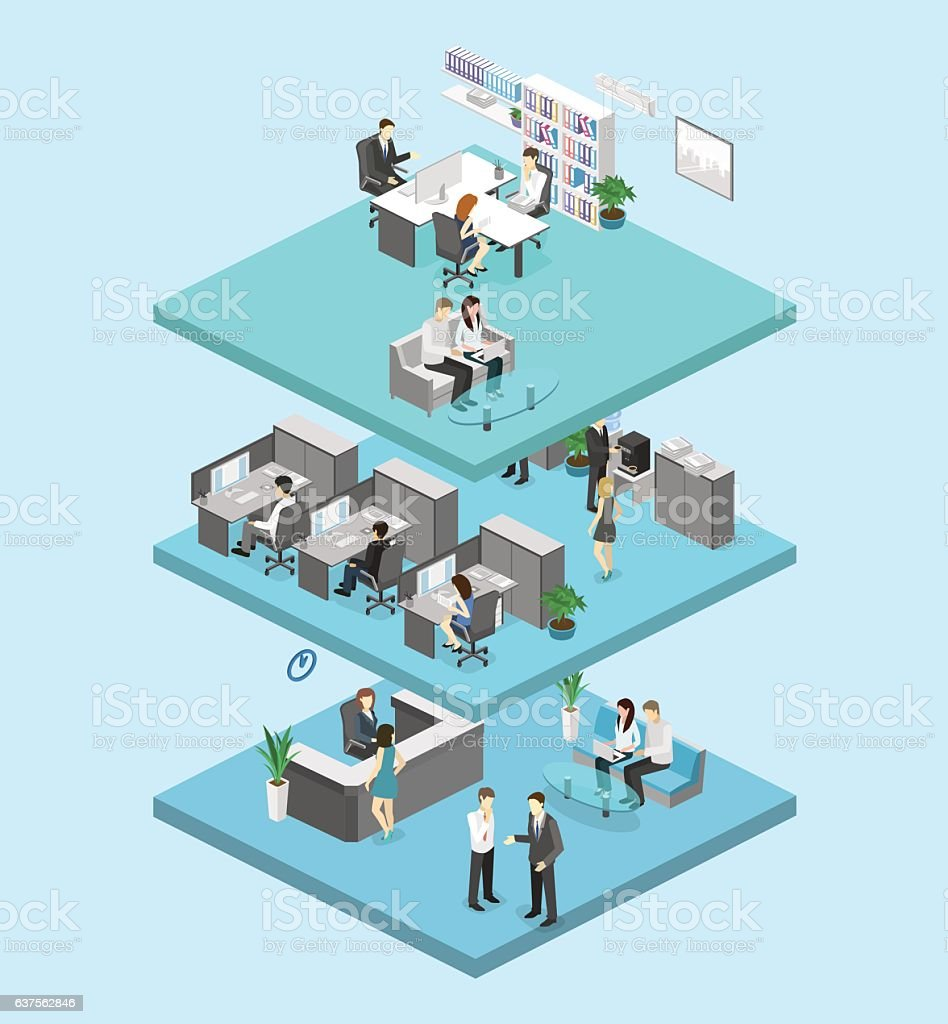 3d Floor Plan Isometric: Isometric Flat 3d Abstract Office Floor Interior Offices