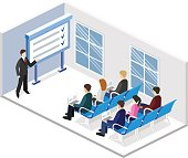Business meeting in an office Business presentation meeting in an office around a table. Isometric flat 3D interior. The businessman shows the executed work plan