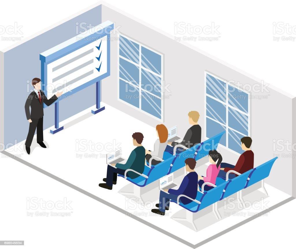 Concepto plano 3D isométrico vector stand de exposición o promoción. Stand de demostración comercial. - ilustración de arte vectorial