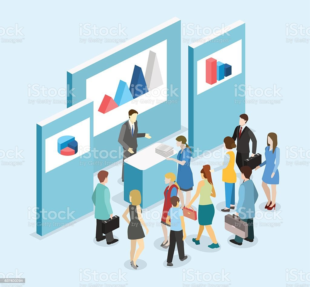 Isometric flat 3D concept vector exhibition or promotion stand. vector art illustration