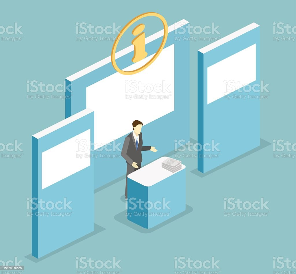isometric flat 3d concept vector exhibition or promotion stand 3d