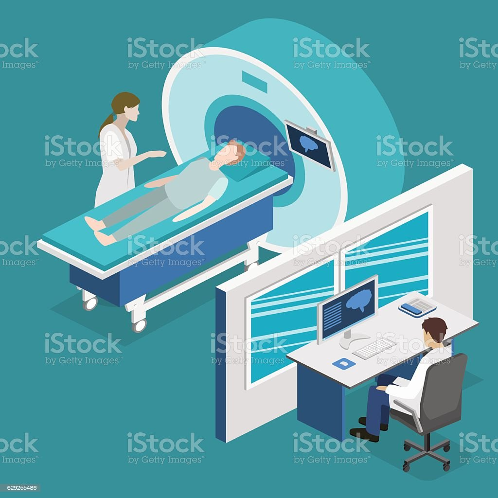 Isometric flat 3D concept vector hospital medical mri web illustration. vector art illustration