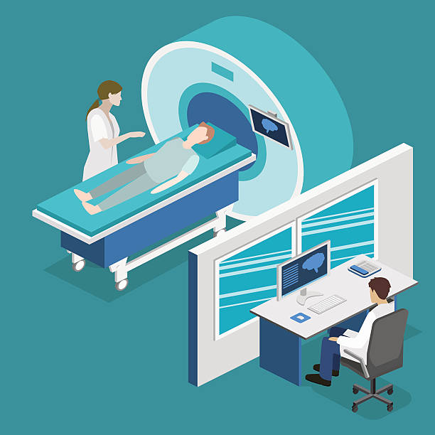 Isometric flat 3D concept vector hospital medical mri web illustration. Isometric flat 3D concept vector hospital medical mri web illustration. Nuclear magnetic resonance imaging tomography room interior. radiology stock illustrations