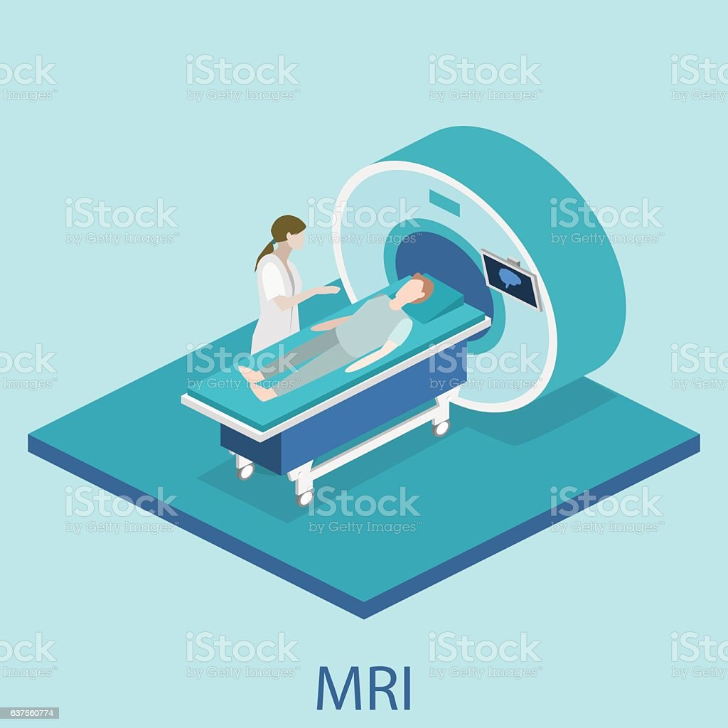 Isometric flat 3D concept vector hospital medical mri web illustration. vector art illustration