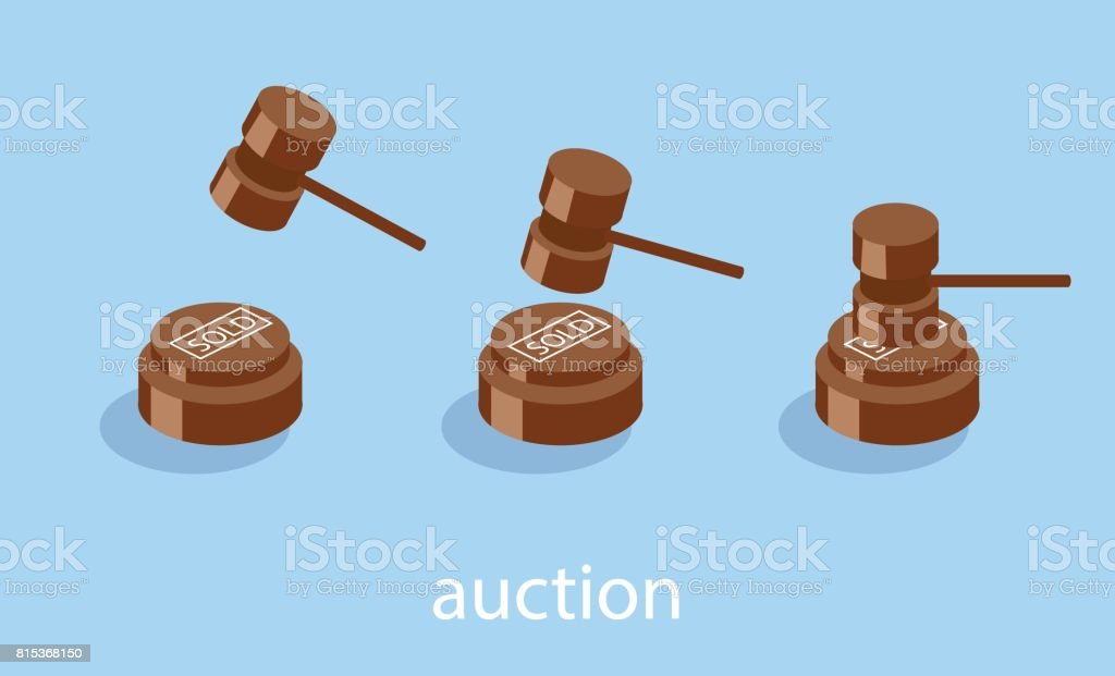 Isometric flat 3D concept vector illustration auction and bidding concept. vector art illustration