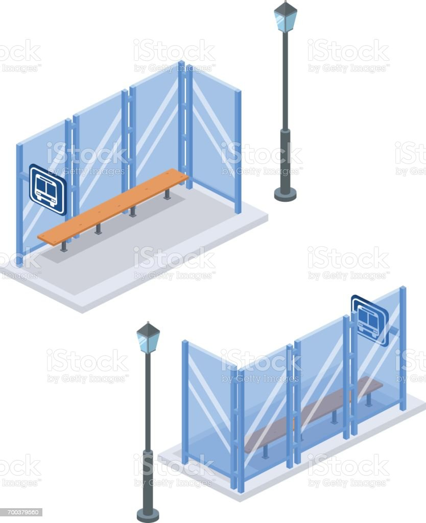 Isométrique plat 3D concept vector illustration ville arrêt de bus avec la lumière de la rue à l'arrière et en avant. Ensemble de collection. - Illustration vectorielle