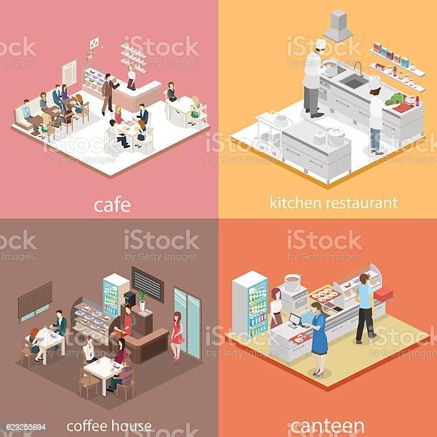 Isometric flat 3d concept vector interior cafe canteen restaurant vector id629255694?b=1&k=6&m=629255694&s=612x612&h=8mlbconjnmcby8shndntisopoqi ix8e0bctqs vwj0=