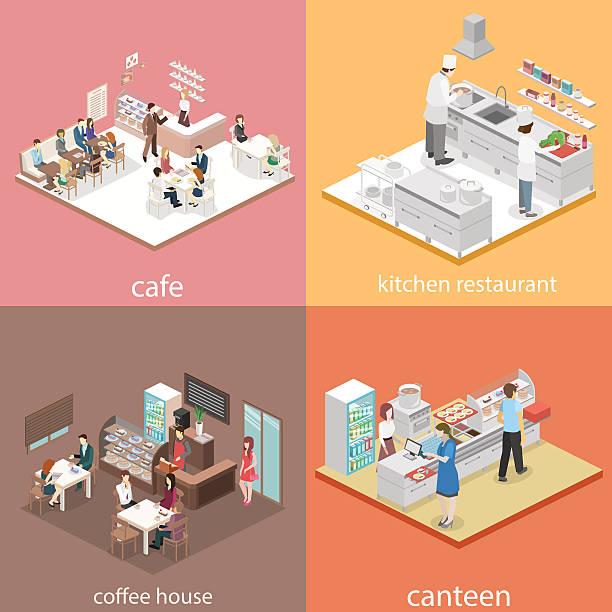 izometryczna płaska koncepcja 3d wektorowa kawiarnia wnętrz, stołówka, kuchnia restauracyjna. - bar lokal gastronomiczny stock illustrations