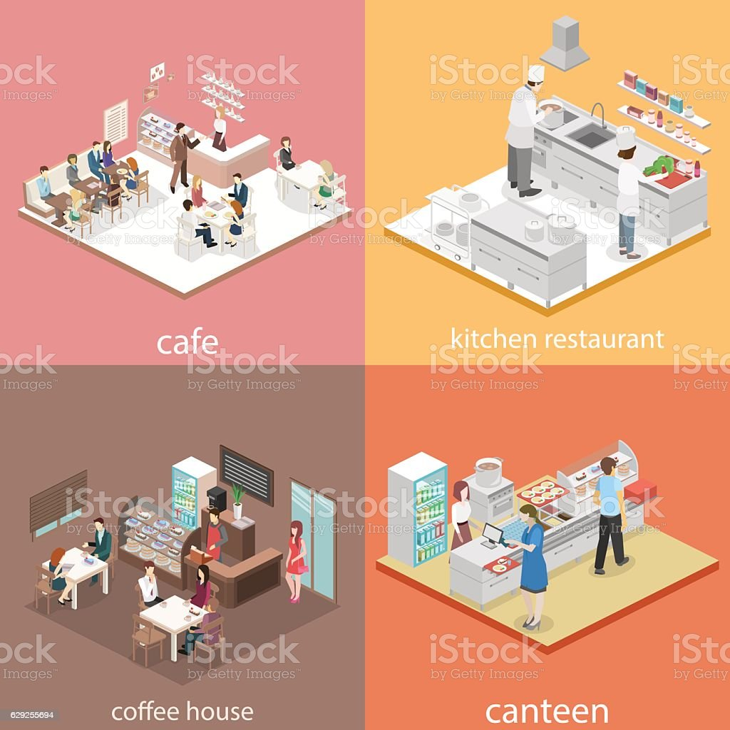 Isometric flat 3D concept vector interior cafe, canteen, restaurant kitchen. ベクターアートイラスト