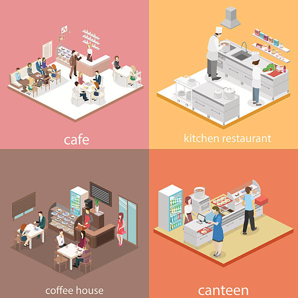 illustrazioni stock, clip art, cartoni animati e icone di tendenza di isometric flat 3d concept vector interior cafe, canteen, restaurant kitchen. - kitchen situations