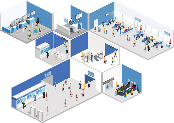Isometric flat 3D concept vector interior of airport Isometric flat 3D concept vector interior of airport check-in, waiting hall, Security gates, ticket office, baggage carousel airport clipart stock illustrations