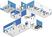 Isometric flat 3D concept vector interior of airport