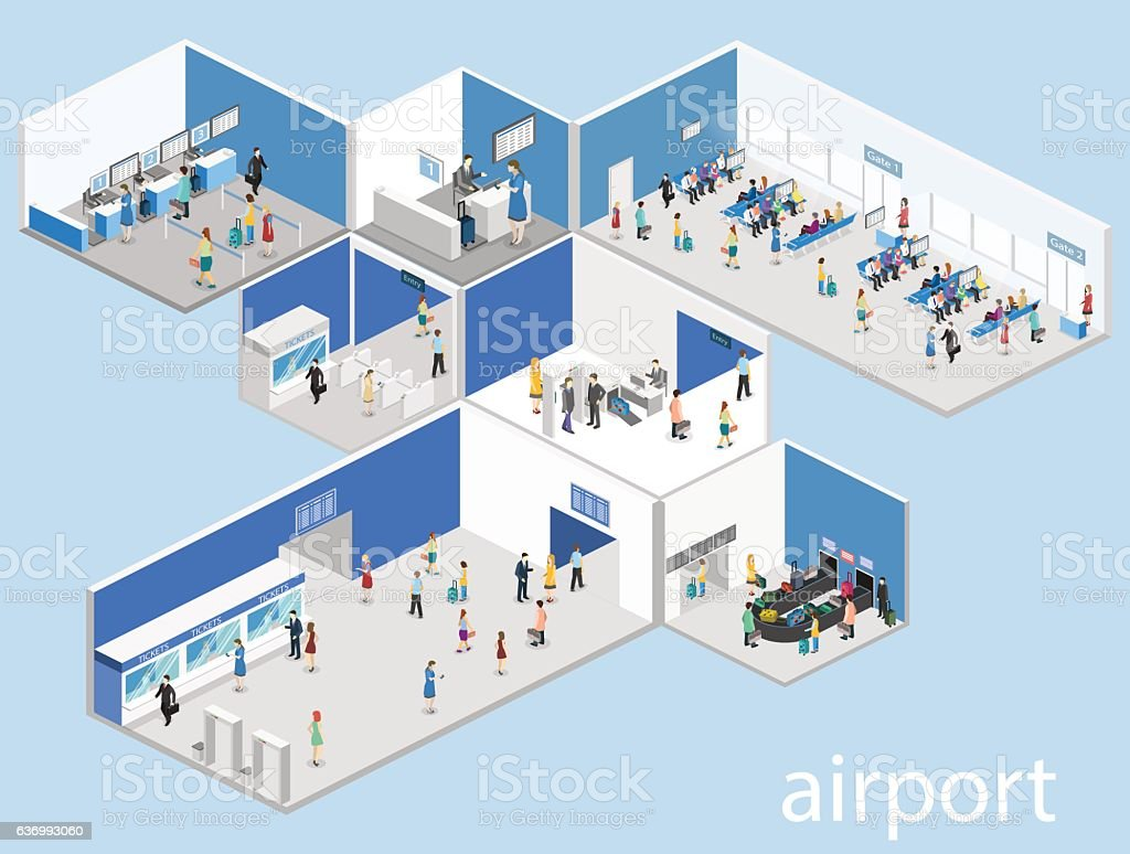 Isometric flat 3D concept vector interior of airport vector art illustration