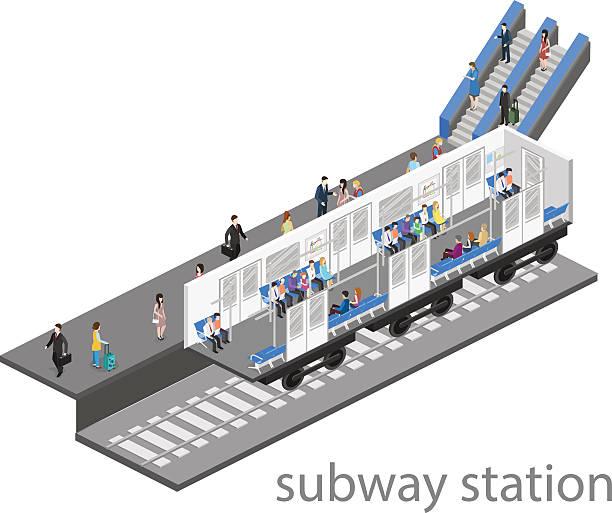 illustrazioni stock, clip art, cartoni animati e icone di tendenza di isometric flat 3d concept vector interior of metro subway carriage. - subway