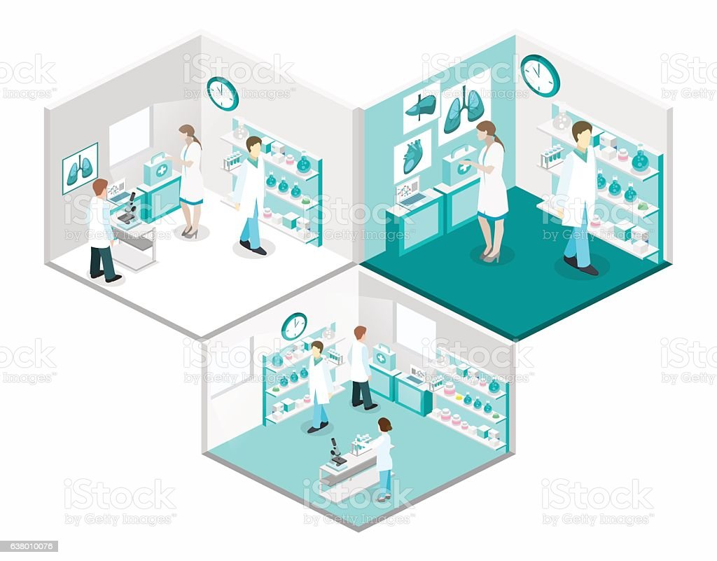 Isometric flat 3D concept vector interior of science laboratory. vector art illustration