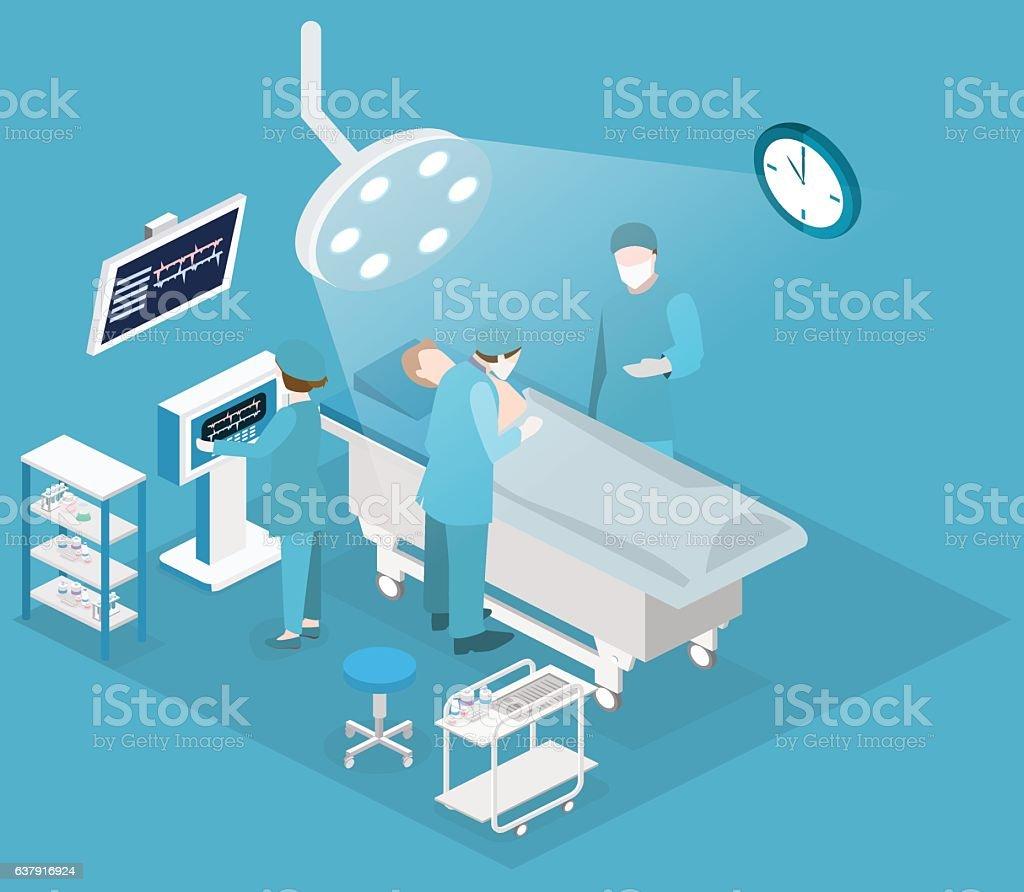 Isometric flat 3D concept vector interior of Surgery Department. vector art illustration