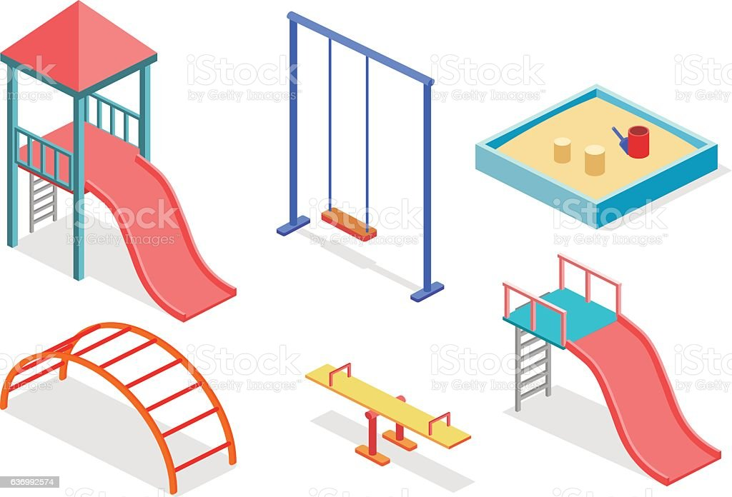 Isometric flat 3D concept web vector kids playground set. vector art illustration