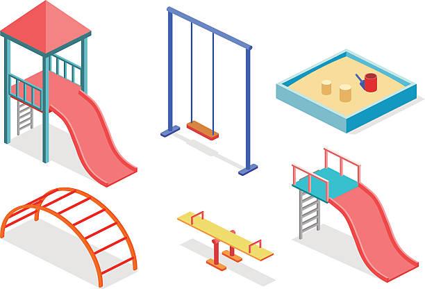 isometric flat 3d concept web vector kids playground set. - recess stock illustrations, clip art, cartoons, & icons