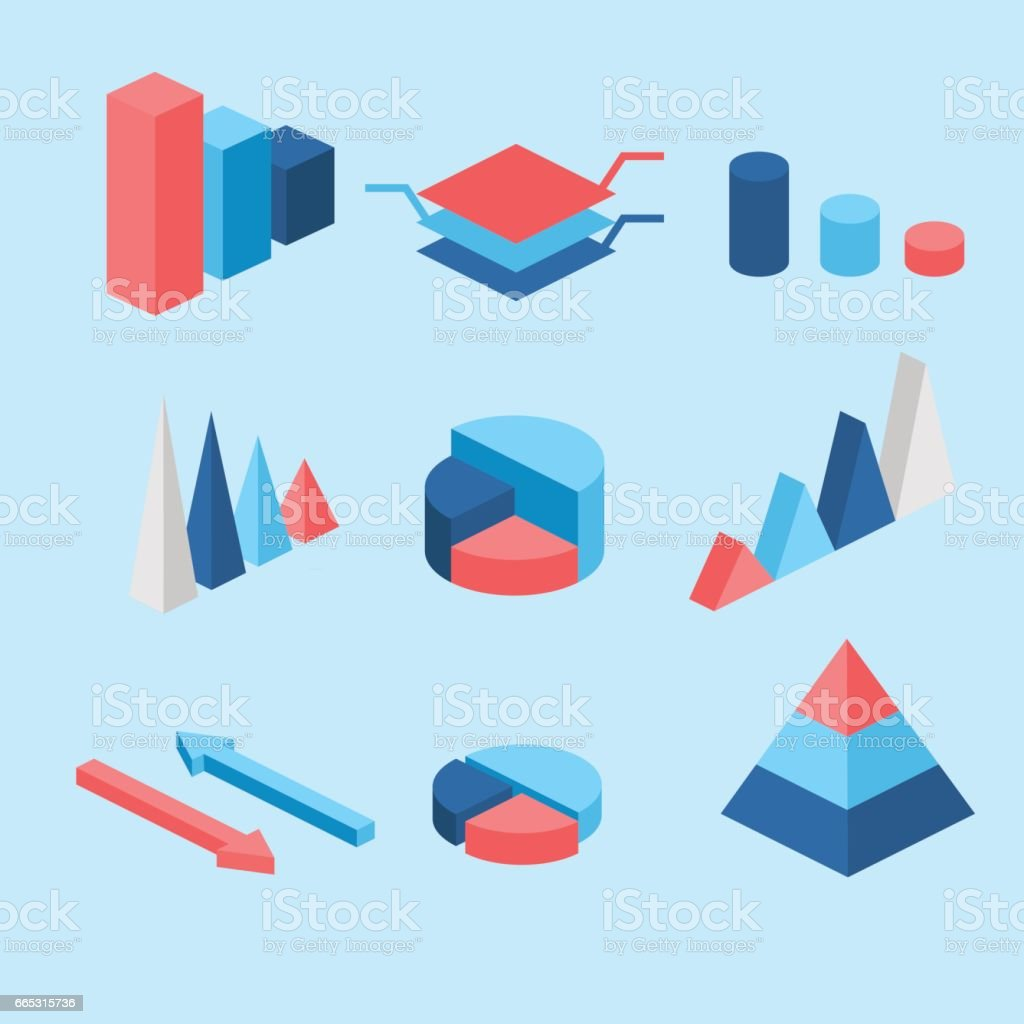 isometric flat 3D infographic elements with data icons and design elements. Pie chart, layers graphs and pyramid diagram. Infographic presentation. vector art illustration