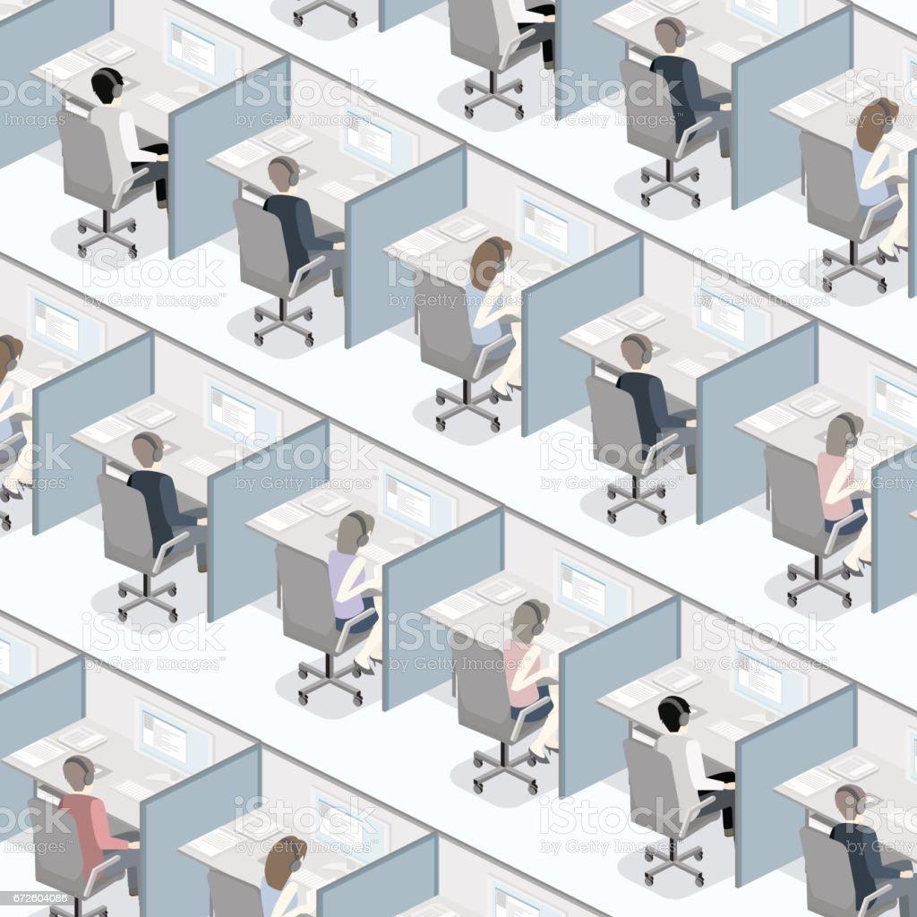 Centre d'appel intérieur plat 3D isométrique. Soutien à la clientèle. centre dappel intérieur plat 3d isométrique soutien à la clientèle vecteurs libres de droits et plus d'images vectorielles de affaires libre de droits