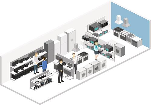 Isometric flat 3D interior household equipment store, computer shop