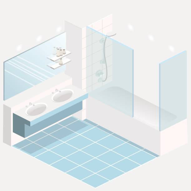 isometrische flach 3d interieur des badezimmers - spiegelfliesen stock-grafiken, -clipart, -cartoons und -symbole
