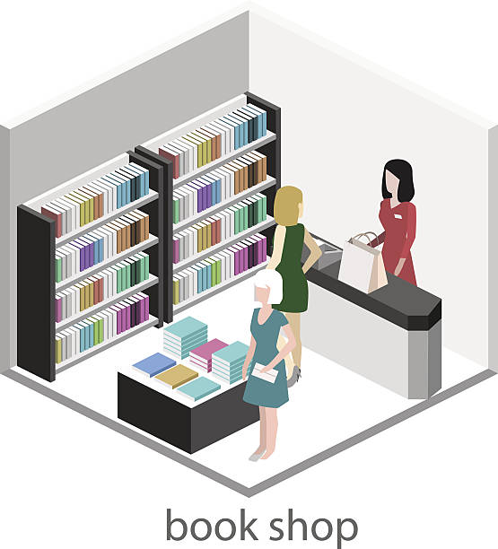 illustrazioni stock, clip art, cartoni animati e icone di tendenza di isometric flat 3d interior of book shop. - banchi scuola