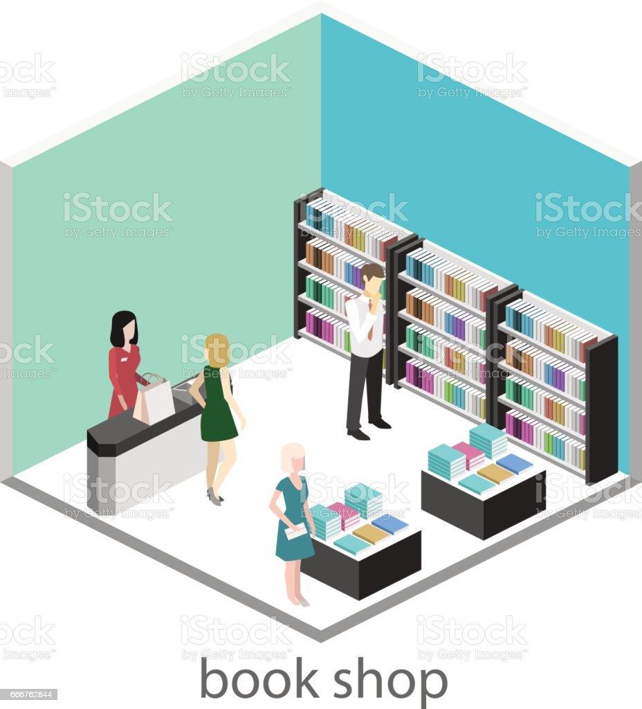Isometric flat 3D interior of book shop. isometric flat 3d interior of book shop - immagini vettoriali stock e altre immagini di adulto royalty-free